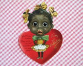 Vintage Mechanical Valentine's Day Card Black Americana Girl with Shoe Button Eyes Raphael Tuck Germany