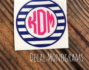 Stripes Circle Monogram Vinyl Decal Car Monogram