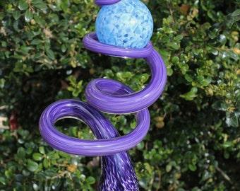 Iris Purple Glass Sculpted Tigger Tail with Baby Blue Ball Garden Art Finial Outdoor Garden Sculpture