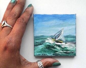 "Mini Oil Painting Boat Wave Seascape Impasto 3"" x 3"" almostREADY to SHIP"