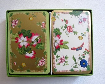 Duo Vintage Playing Cards - Two Decks - Floral Images - Butterfly - Caspari Brand - Altered Art - Supplies - Game Cards