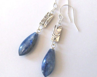 Kyanite Gemstone Fine Silver Earrings, Ocean Surf, Sea Wave, Sterling Hooks, Eco Friendly Silver One of a Kind  Earrings