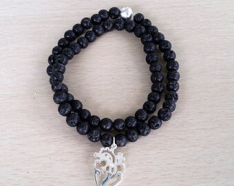 Double lava rock mala bracelet with sterling silver cut out anatomical heart
