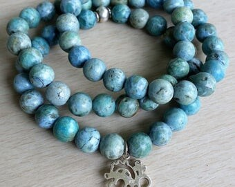 Triple stack African turquoise mala bracelets with sterling silver anatomical cut out heart