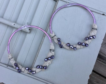 Lavender Lace Wrapped Large Boho Hoop Earrings | Bohemian Sterling Silver, Antique Lace & Czech Glass Beads