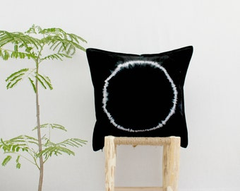 WAYFARER . tie dye cushion cover . pillow . throw cushion . decorative pillow . throw pillow . black . boho gypsy hippie industrial tribal