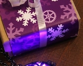 CYBER WEEK SALE - Purple Glowing Necklace, Glowing Pendant, Drop locket, Glowing Led orb ,Gunmetal Black, Christmas Winter Season Holiday Gi