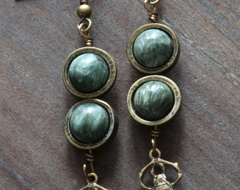 Steampunk Earrings - Green Seraphinite and Brass Scarab Charms