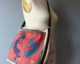 vintage soft cotton bag / kokopelli shoulder bag / market bag / hippie messenger bag