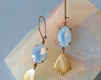 Opal Blue Earrings Art Deco Drops - Gold and Opal - Opalescent - Ribbed Brass - Nausica Earrings (SD1260)