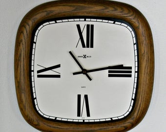 Howard Miller clock, wood wall clock, mid century clock, vintage wall clock
