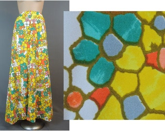 Vintage 1960s Maxi Skirt, 28 inch waist, Yellow, Orange & Green Stained Glass Print