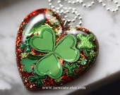 Irish Shamrock Necklace, Green St. Patrick's day Jewelry, Clover Resin Pendant, Saint Patrick's Day Gift for Her, Bit o' Green, Lucky Clover
