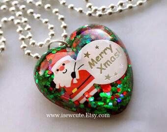 Girls Stocking Stuffer Gift, Santa Necklace, Christmas Jewelry, Christmas Holiday Jewelry, Santa Claus Charm, Girls Christmas Necklace, ooak