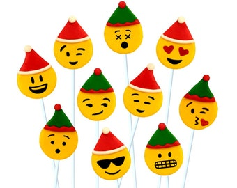 SANTA and ELF Christmas EMOJI candy - Edible marzipan lollipops for Christmas - A Delicious Treat!