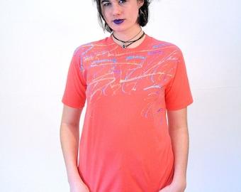90s Glitzy Tee, Orange Tee, Coral T-shirt, Glitter Paint T-shirt, Glitter Tee, Vintage Artsy T-shirt, M