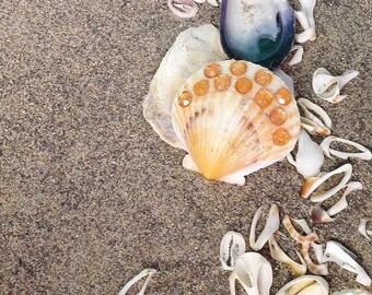 mermaid hair clip - scallop shell barrette with rhinestones, orange, mermaid accessories