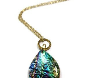 Teardrop Brocade Dichroic Necklace- Modern Statement Necklace- polymer clay Pendant Gifts for Her Birthday Graduation