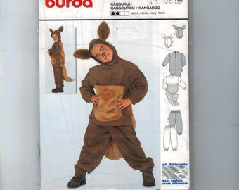 Kids Sewing Pattern Burda 2762 Kids Kangaroo Costume Boys Girls Size 4 5 6 7 8 9 UNCUT