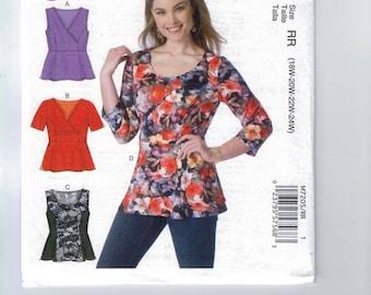 Womens Sewing Pattern McCalls M7205 7205 Easy Peplum Top Shirt Plus Size 18W 20W 22W 24W 26W 28W 30W 32W Bust 40 42 44 46 48 50 52 54 UNCUT