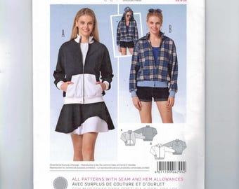 Misses Sewing Pattern Burda 6799 Hooded Jacket Kangaroo Pocket Zip Front Windbreaker Size 8 10 12 14 16 18 20 UNCUT