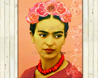 Frida Kahlo Roses Art Poster / All Sizes Print Instant Digital Download Mixed Media Collage Modern Photomontage Blush Pink DIY Fabric Block