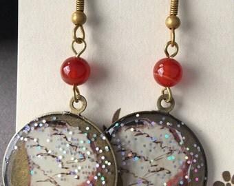 Orange and Glitter Drop Earrings