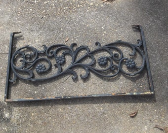 Antique Wrought Iron Gate Fragment Architectural Salvage 33 x 17 Garden Decor French Country Farmhouse Iron Burglar Bars Garden Decor
