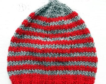 HENDREARY knitted Gnome Hat #3292 poppy, grey