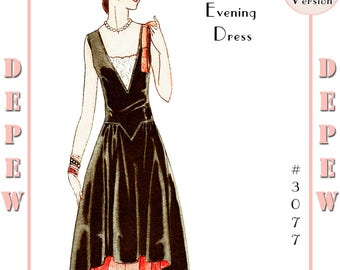 Vintage Sewing Pattern Reproduction Ladies' 1920's Robe de Style Drecoll Couture Dress #3077 - PAPER VERSION
