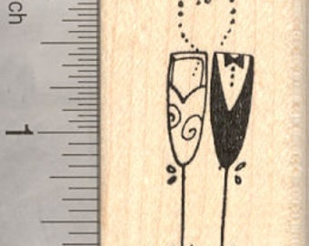 Bride and Groom Wedding Rubber Stamp, Champagne Glasses D21609 Wood Mounted