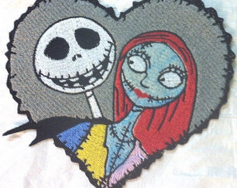 """Jack & Sally in Barbed Heart - Nightmare Before Christmas Embroidered  Iron on Patch - Applique Made in USA 4.75"""" x 4.5""""- FREE Shipping"""