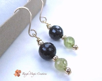 Two Tone Dark Red & Grossular Green Garnet Earrings, Genuine Gemstones, Gold Filled Earrings, Semi Precious Real Stone Handmade Jewelry E464