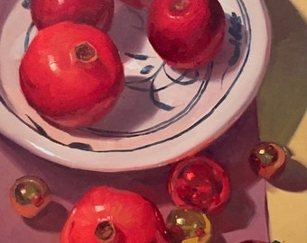 "Art painting still life christmas ornaments and pomegranate ""Royal Reds"" by Sarah Sedwick 14x18"""
