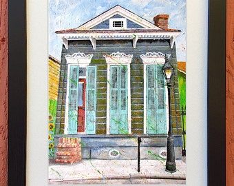 "New Orleans French Quarter Shotgun House Art Framed and Matted ""French Quarter Morning"" Signed and Numbered (Three Sizes to Choose From)"