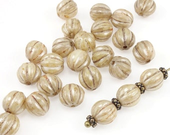 25 8mm Melon Beads LUSTER OPAQUE PICASSO Earthy Beige Beads Czech Glass Beads 8mm Round Beads Pumpkin Beads Creamy Tan Neutral Beads Autumn