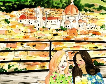 Friends In Florence Fashion Illustration Print