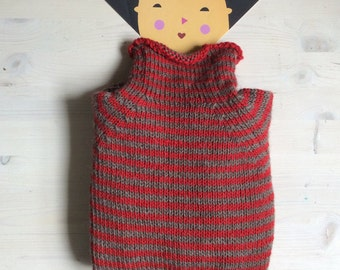 Red-and-oatmeal striped sweater for kids in pure alpaca - Let's play outside