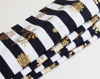 Contemporary Holiday Season Cotton Napkins / Set of 4 / Stripes & Gold Snowflakes Christmas Table Decor / Unique Eco-Friendly Gift Under 50