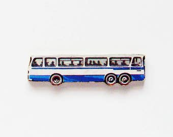 1960s Transit Bus Brooch - Pin / Upcycled Vintage Hand Cut Wood Road Vehicle Puzzle Piece / Blue & White Accessory / Unique Gift Under 30