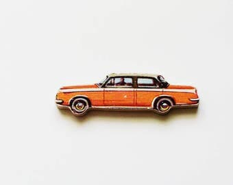1960s Limousine Brooch - Pin / Upcycled Vintage Hand Cut Wood Road Vehicle Puzzle Piece / Orange, White, Black / Unique Gift Under 30