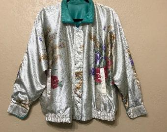 vintage Floral silky reversible jacket. la phia jacket. 90's jacket. lame jacket. reversible jacket