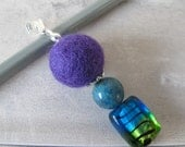 RESERVED FOR VERITY: Purple aromatherapy pendant with vintage turquoise bead and dichroic glass, custom order