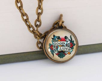 Tattoo Good Luck Horse Shoe Small Pendant Necklace Vintage Style Bronze