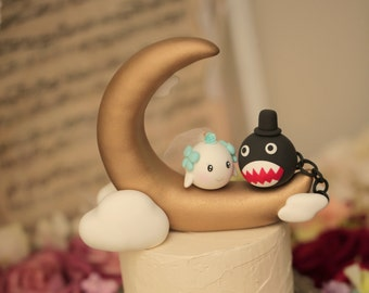 chomp and boo bride and groom wedding cake topper