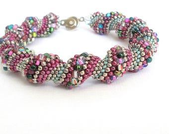 rose beaded bracelet handmade  multicolor spiral bangle seed bead bracelet boho bracelet beadwork bracelet silver bracelet swarovski crystal