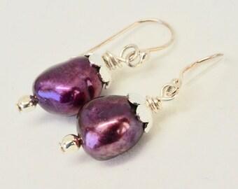 Plump Eggplant Freshwater Pearl Earrings, Stunning Burgundy Earrings,  Purple Pearl Jewelry, Berry Bridal Design, Anniversary Gift for Wife