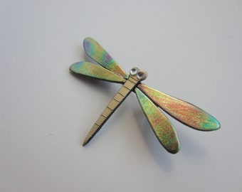 Dragonfly pin with iridescent wings brooch