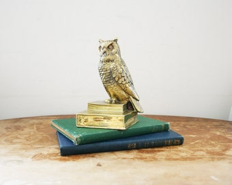vintage 50s Owl on Book Heavy Brass Metal Bookend // Library Decor