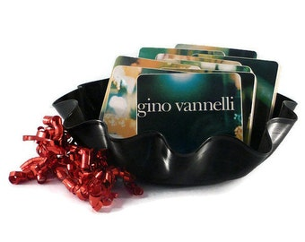 Gino Vannelli recycled Nightwalker music album wood coasters and warped vinyl record bowl